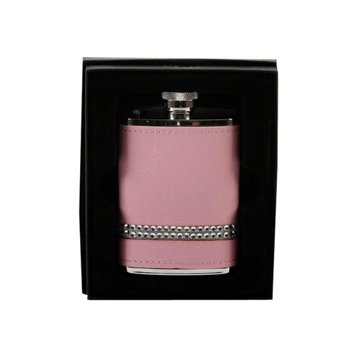3oz Stainless Steel Hip Flask Pink 2 Rows of Diamante