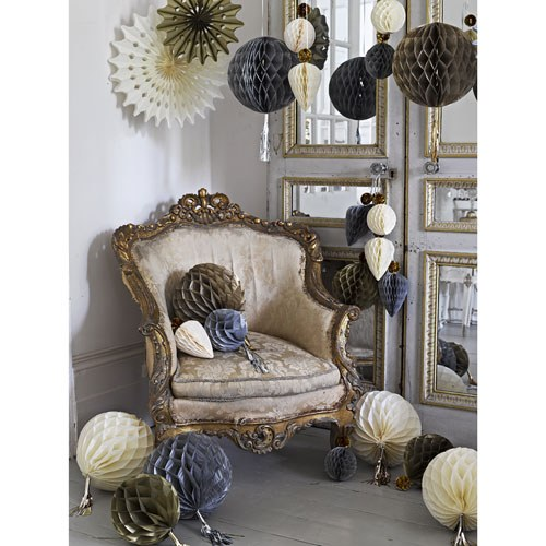 Gold, Silver and Ivory Hanging Honeycomb with Tassel Set of 3