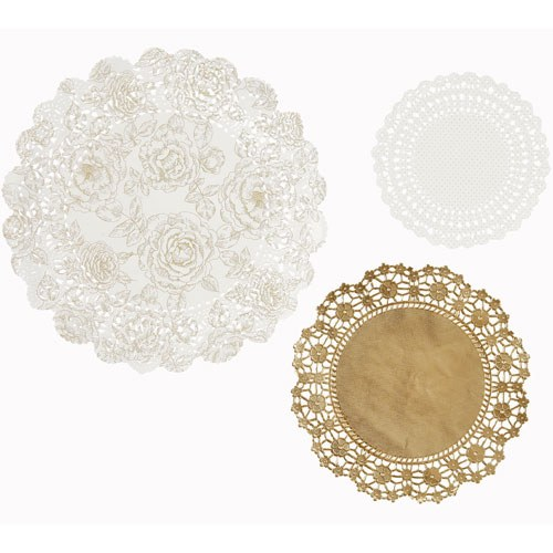 Doilies White & Gold 24 Pack