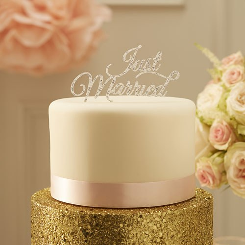 Just Married Cake Topper Silver