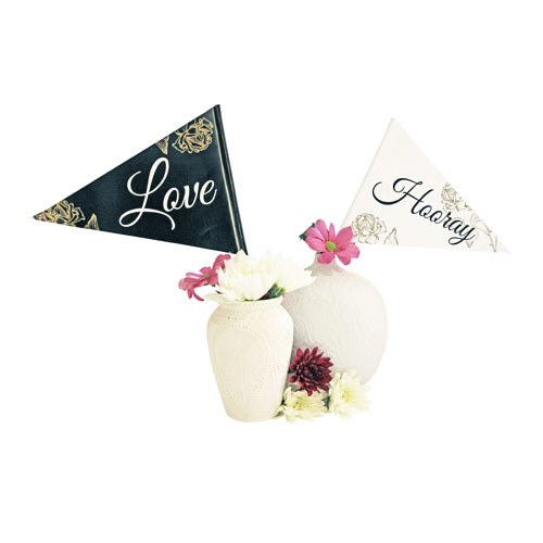 Black and White Paper Celebration Flags