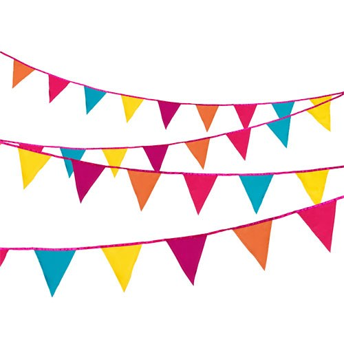 bright multi coloured fabric bunting. Black Bedroom Furniture Sets. Home Design Ideas
