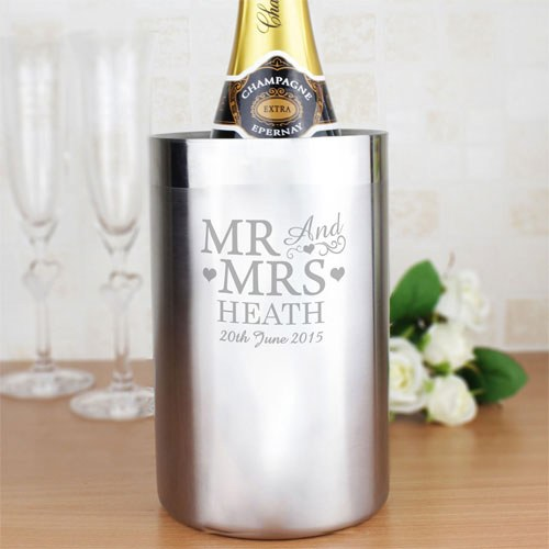 Personalized Mr & Mrs Stainless Steel Wine Cooler