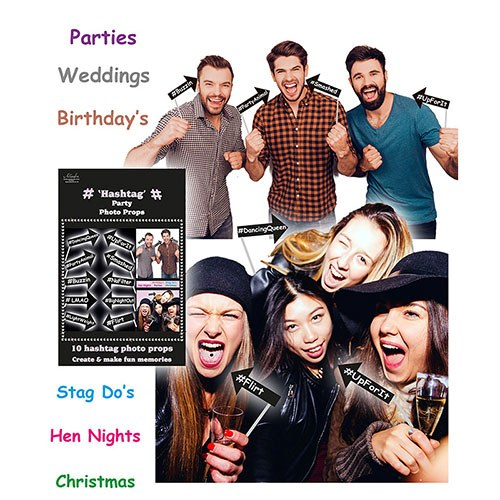 Hashtag Party Photo Props - 10 Pack