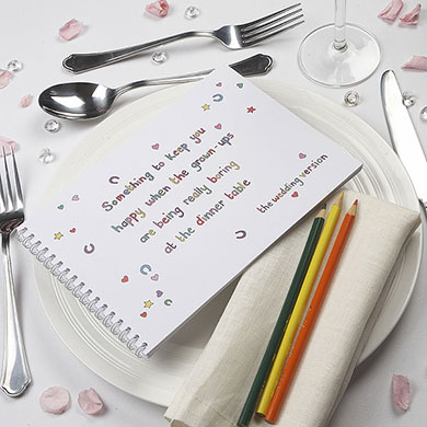 Keep the kids entertained at the wedding breakfast with this activity book from Confetti.co.uk