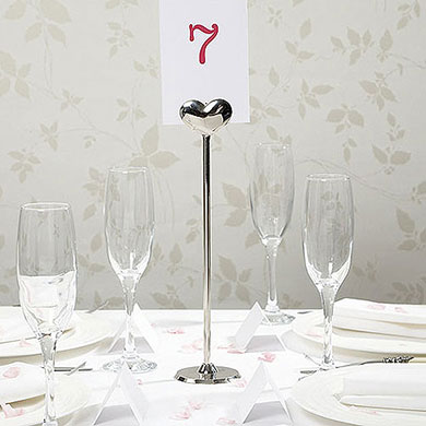 Silver Metal Heart Table Number Holder