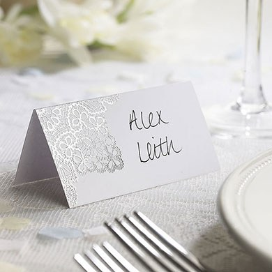 Delicate Lace Place Card Pack  Black