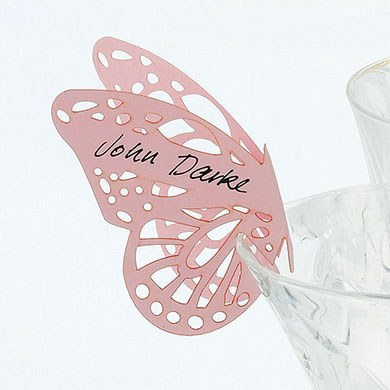 Delicate Lasercut Butterfly Wedding Place Card For Glasses Pack  Black