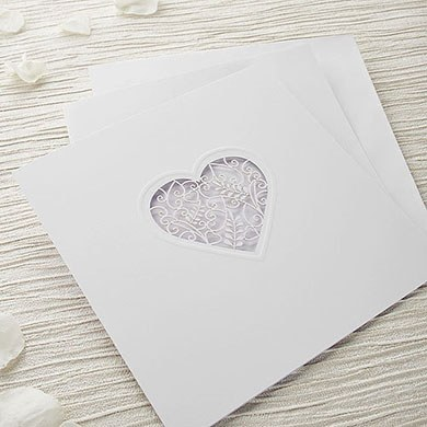 Grace DIY Heart Laser Cut Wedding Invitation Kit  White