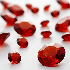 Red Diamante Table Gems 100g Mixed Size Value Pack