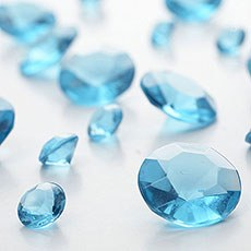 Caribbean Blue Diamante Table Gems 100g Mixed Size Value Pack