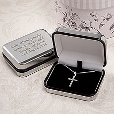 Silver Cross Necklace With Personalized Box