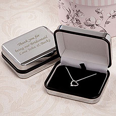 Silver Heart Necklace with Personalized Box