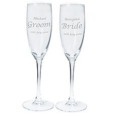 Personalized Crystal Wedding Flutes