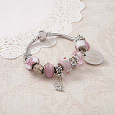 Personalized Sweet Pink Charm Bracelet