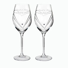 Personalized Heart Wine Glasses with Swarovski Elements