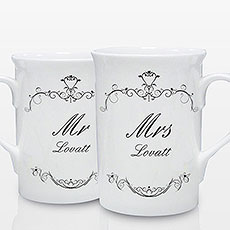 Ornate Swirl Mug Set Personalized