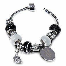 Personalized Black Charm Bracelet
