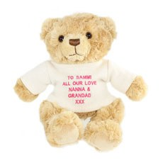 Message Teddy With Pink Embroidery