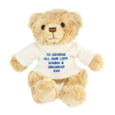 Message Teddy With Blue Embroidery