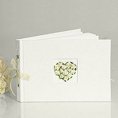Traditional Wedding Guest Book in Ivory with Real Rosebud Heart