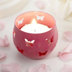 Fuchsia Butterfly Detail Metal Tea Light Candle Holder