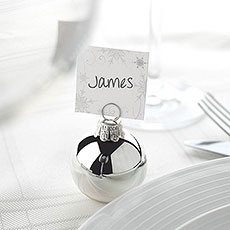 silver bauble place card holder pack