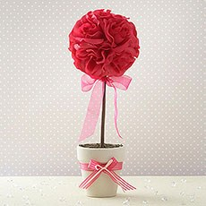 Fuschia Wedding Silk Topiary Tree