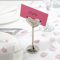 Silver Metal Heart Place Card Holder
