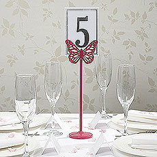 Fuchsia Metal Butterfly Table Number Holder