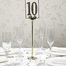 Gold Metal Heart Table Number Holder