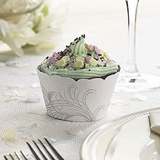 Silver and White Feather Cup Cake Wraps Pack