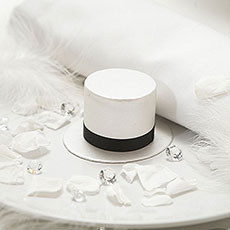 Top Hat Favour Box Brown Ribboned