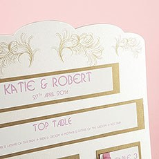 Ivory and Gold Boho Feather Seating Chart A3
