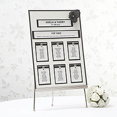 White and Black Wedding Table Seating Chart A3