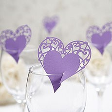 Lasercut Heart Place Cards for Glasses Pack