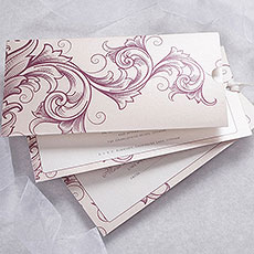 Filigree Scroll Wallet Evening Invitation