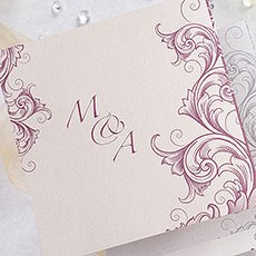 Filigree Scroll Z Fold Invitation
