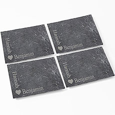 Heart Motif 4 Pack of Slate Coasters