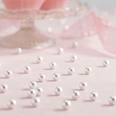Table Scatter Confetti Pearls in White
