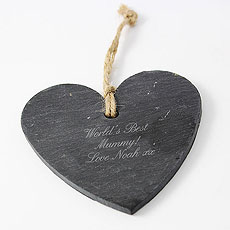 Script Engraved Slate Heart Decoration