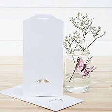 White and Gold Eco Chic Birds Design Large Insert Tag - 10 Pack