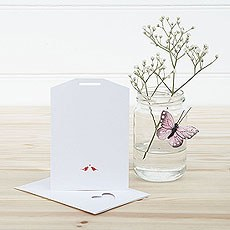 White and Red Eco Chic Birds Design Small Insert Tag - 10 Pack