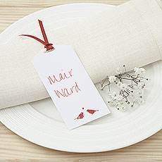 White and Red Eco Chic Birds Design Place Card Tag - 10 Pack