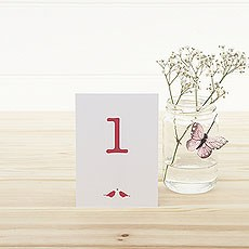 White and Fuchsia Eco Chic Birds Design Table Numbers 1-15