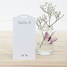 White and Sage Eco Chic Birds Design Table Plan Tags 1-16