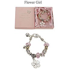 Amore Silver and Pink Bead Charm Bracelet - Flower Girl