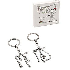 Tracey Russell Set of 2 Silverplated Keyrings 'Mr & Mrs'