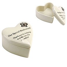 "Amore Porcelain Heart Trinket Box ""Our Special Bridesmaid"""