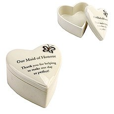 """Amore Porcelain Heart Trinket Box """"Our Maid of Honour"""""""